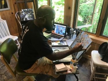 Steven Walker in the residency studio