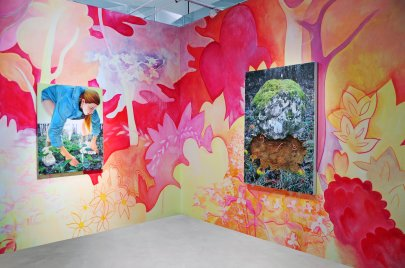 Installation_of_Exhuberant_Spring_Paintings_with_Handpainted_Mural_2016